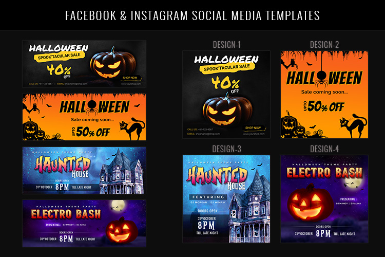Halloween Big Bundle - flyers, banners, social media etc. example image 8