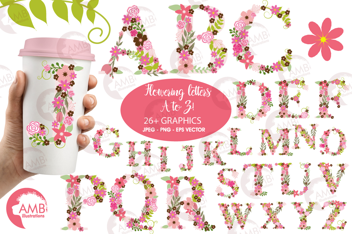 Floral alphabet clipart, graphics, illustrations AMB-1104 example image 1
