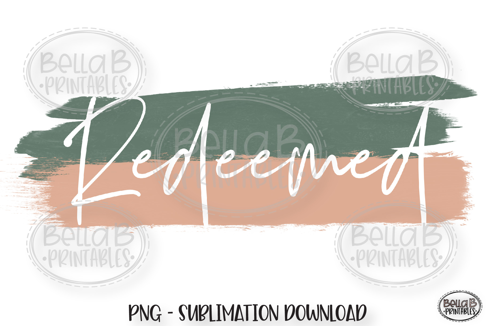 Christian Sublimation Design PNG, Redeemed, Brush Stroke example image 1