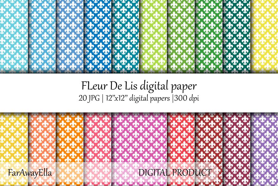 Fleur De Lis JPG digital paper | 20 seamless backgrounds example image 1