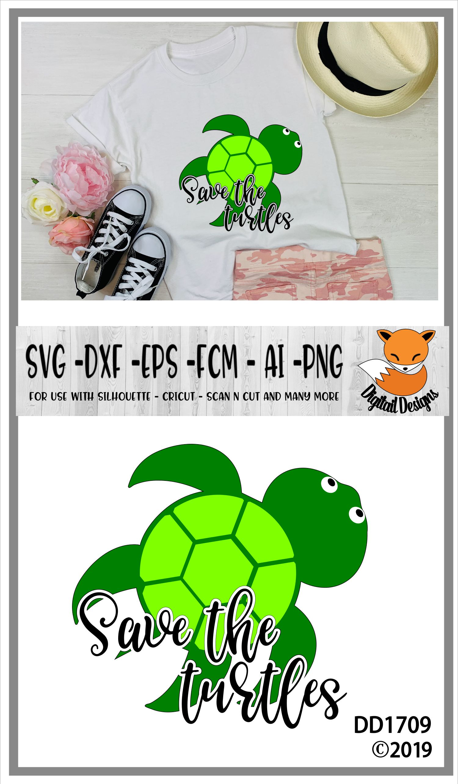 Save The Turtles Basic Girl SVG example image 2
