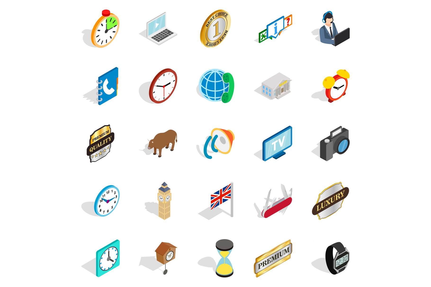 Time period icons set, isometric style example image 1