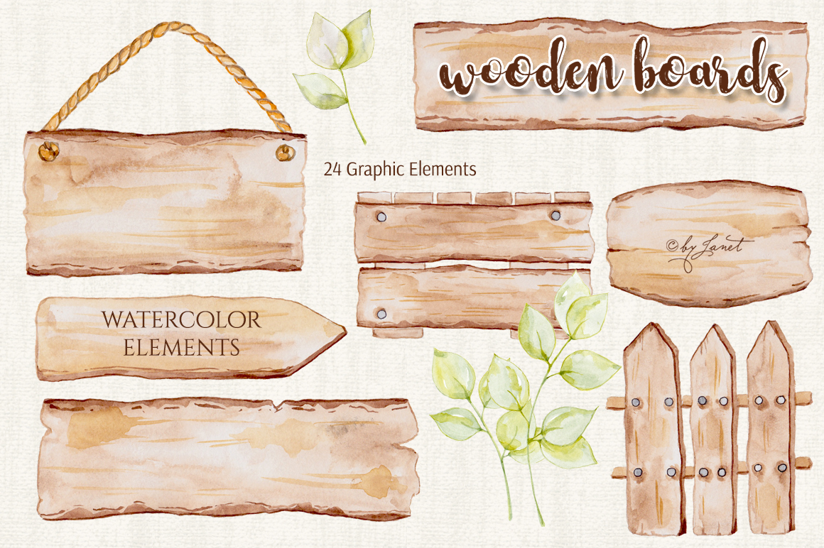 Wooden Boards Watercolor example image 2