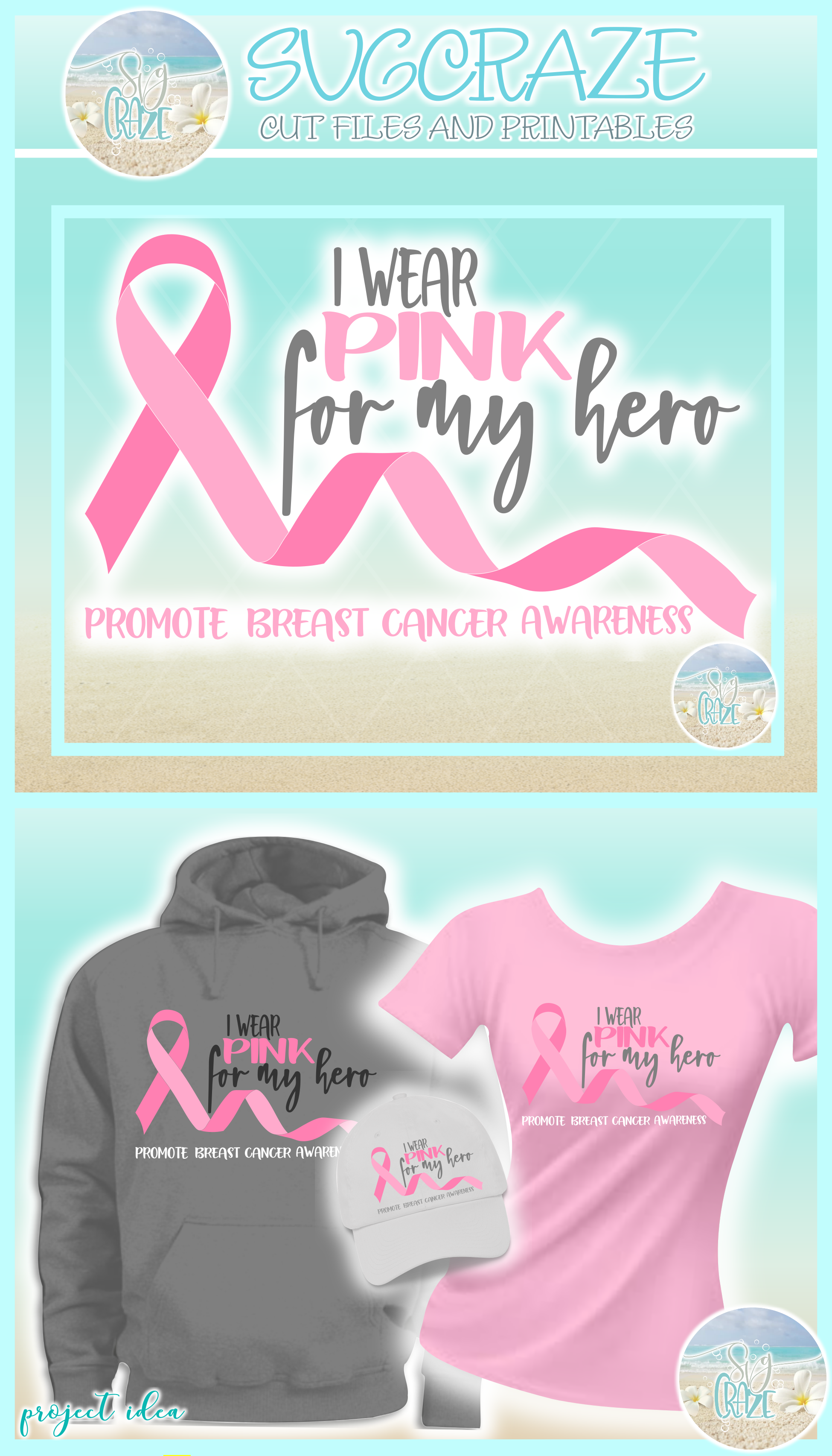 I Wear Pink For My Hero Breast Cancer Ribbon SVG example image 4