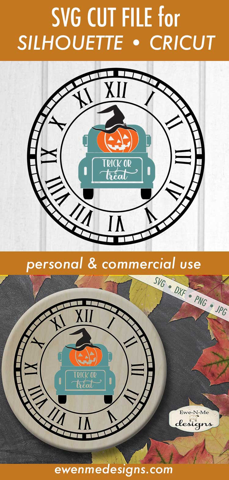 Clock SVG - Halloween Clock - Jack O Lantern Truck - SVG DXF example image 3
