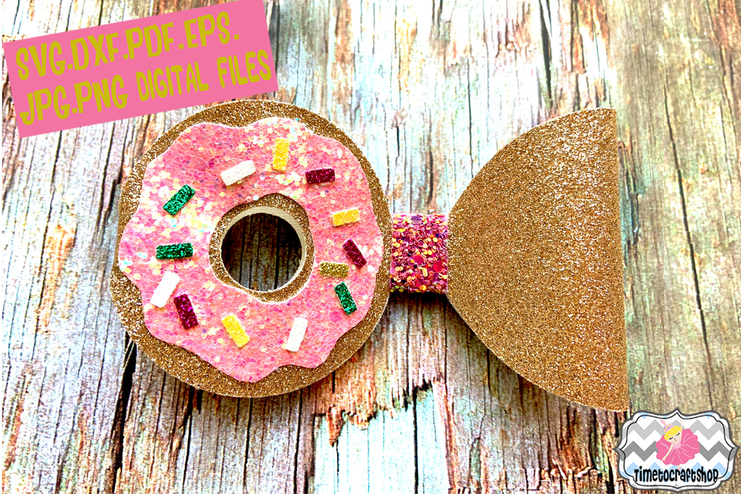 Donut Hair bow Template. example image 1