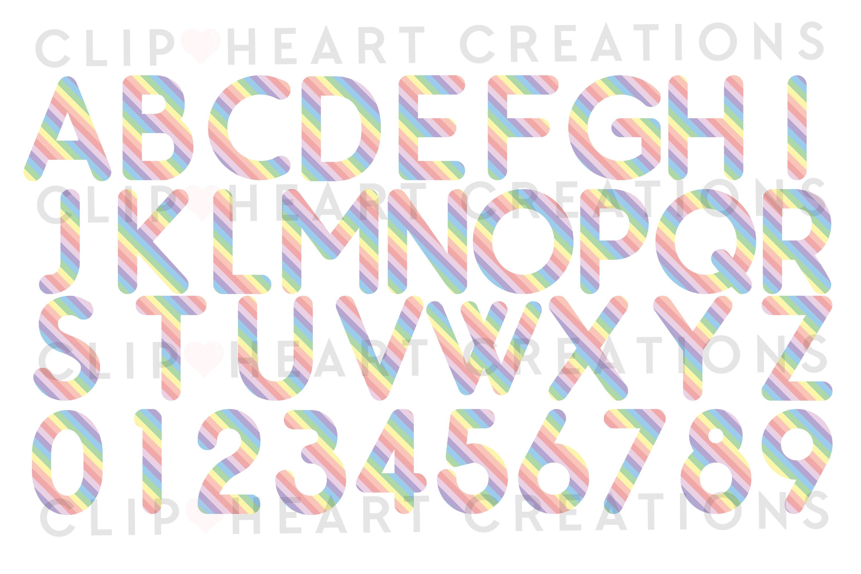 Pastel Rainbow Alphabet & Numbers with Symbols example image 2