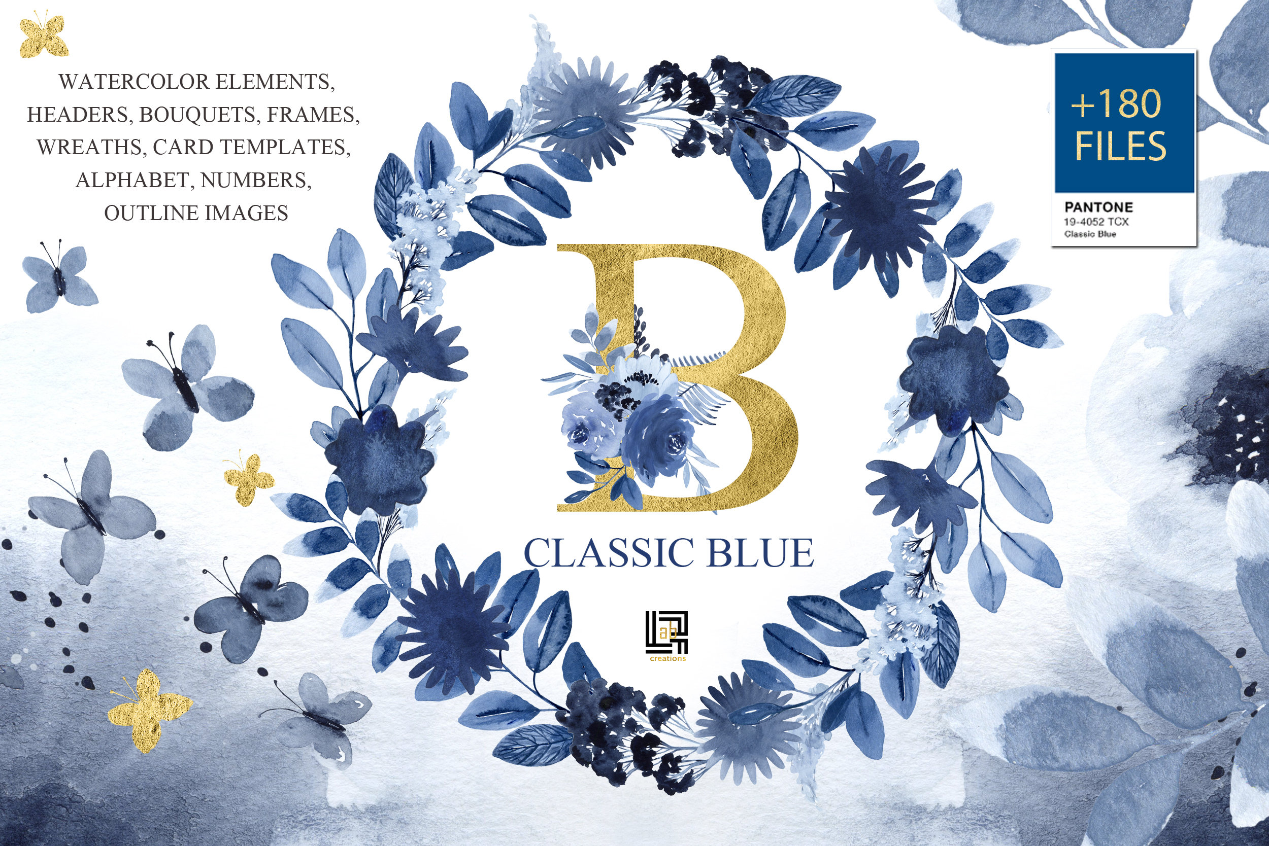 Classic Blue. Large Watercolor floral collection. example image 6
