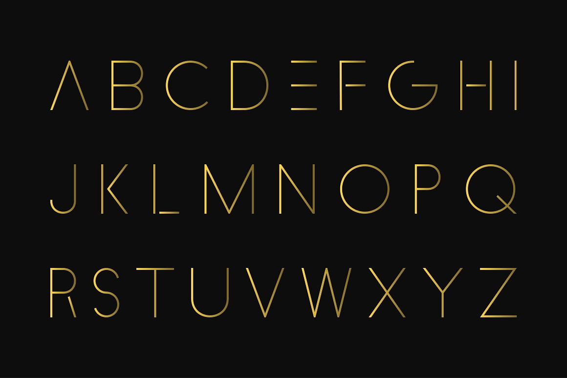 Luxury minimalistic alphabet. Gold font example image 4