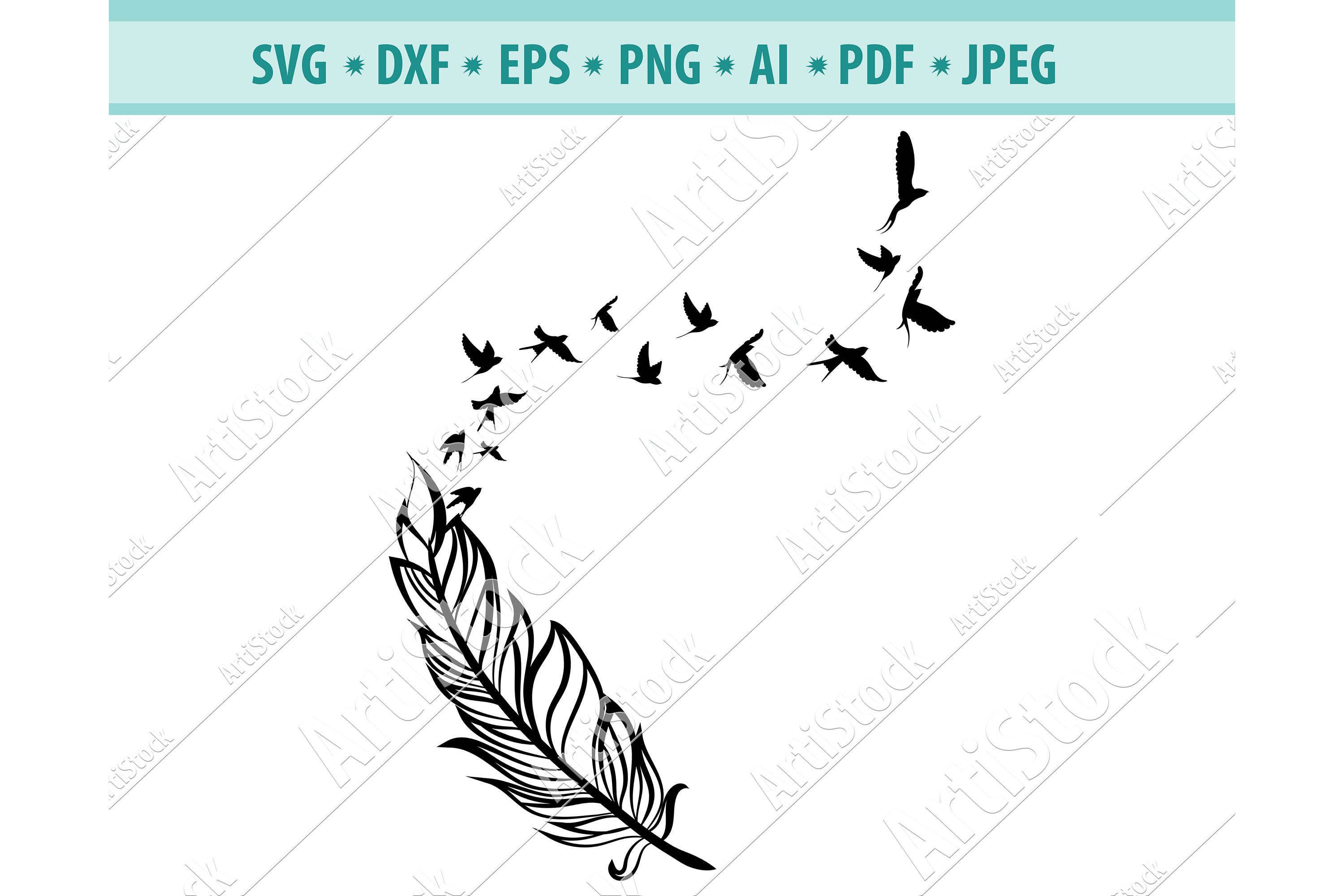Feather to Birds Svg, Doves feathers Svg, Gift Dxf, Png, Eps example image 1