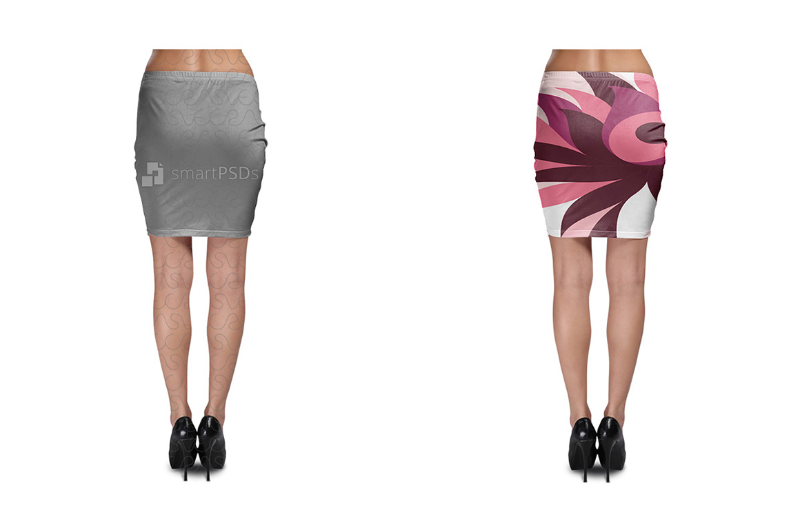Bodycon Skirt Design Mockup for Sublimation Cloth Printing - 2 Views example image 2