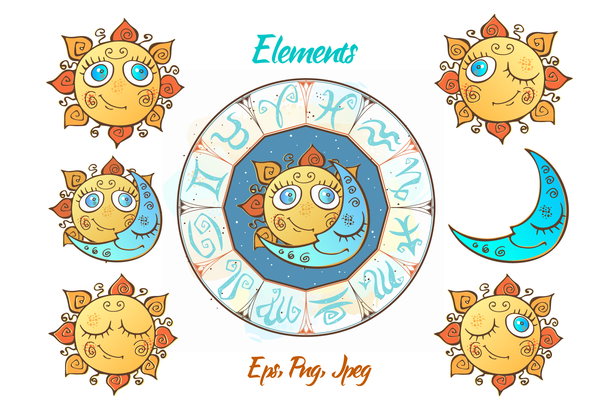 Zodiac signs for children. Funny horoscope in a cute style. example image 4