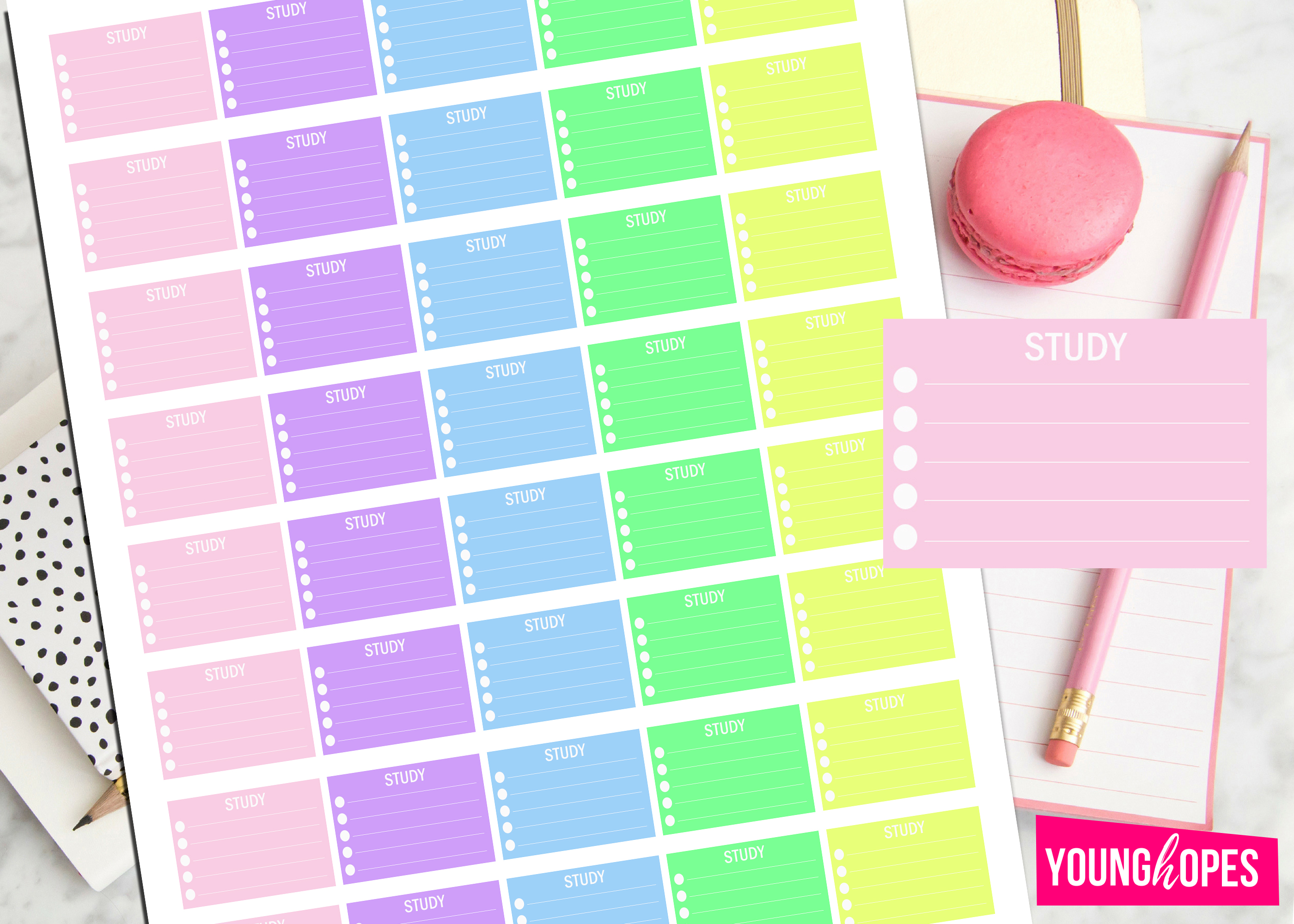 Study Half Box Planner Stickers-Student Planner Stickers example image 2