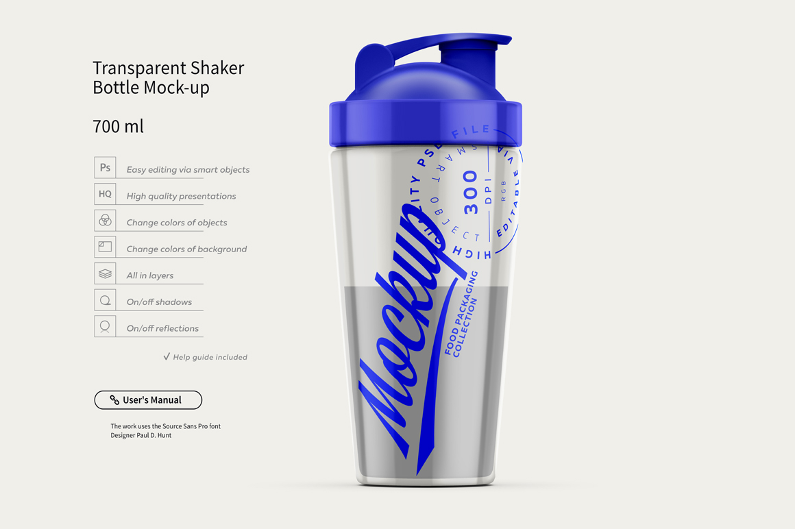 Transparent Shaker Bottle Mock-up example image 2