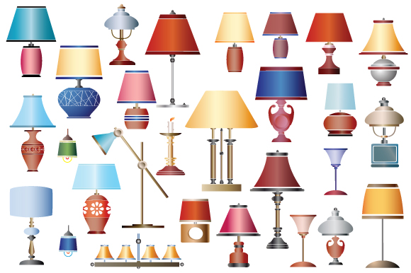 Vector set household lamps and chandeliers example image 3