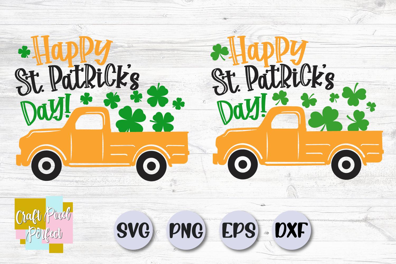 Happy St Patricks Day Svg, St Patricks Truck Svg, Shamrock example image 1