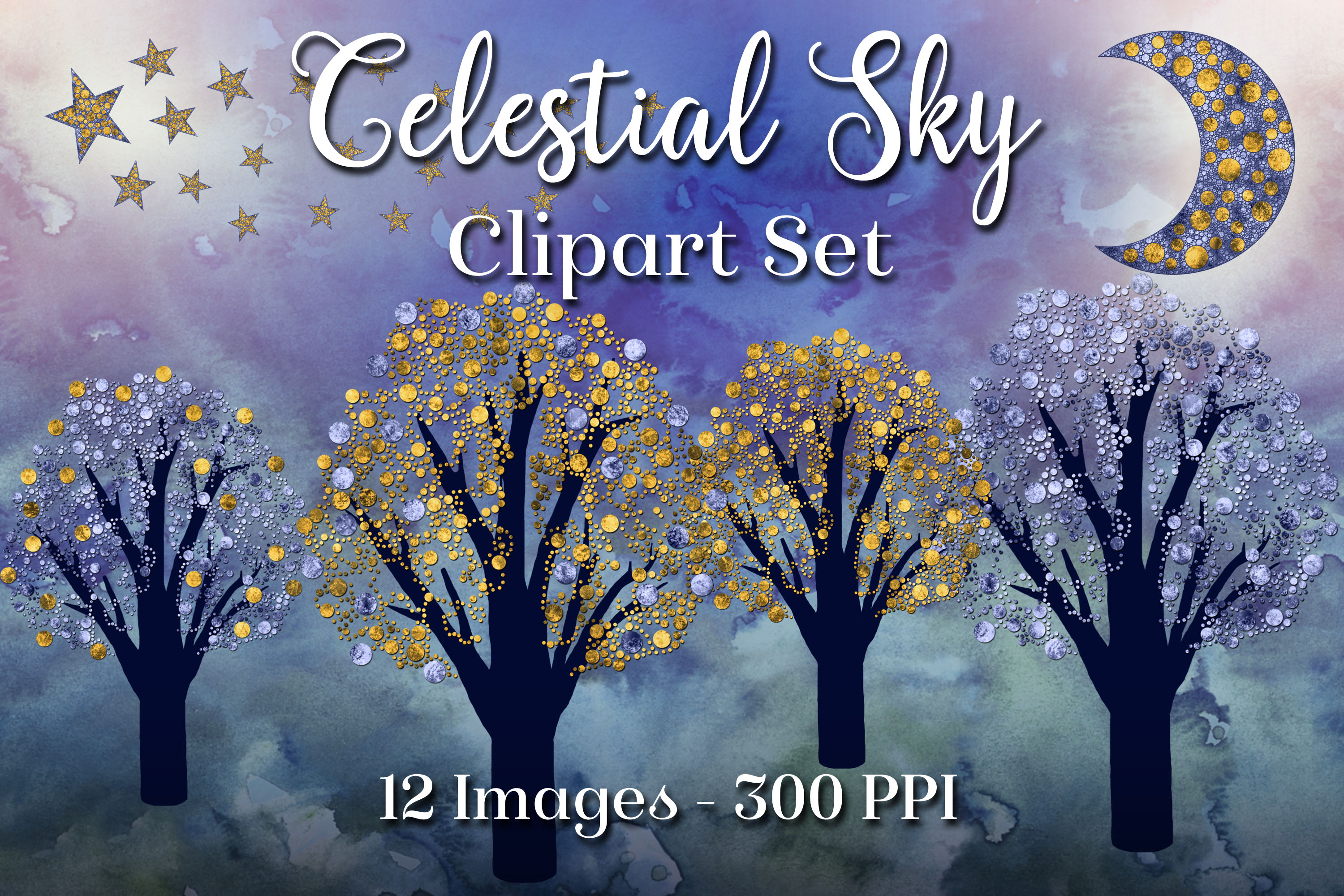 Celestial Sky - 12 PNG Clipart Images example image 1
