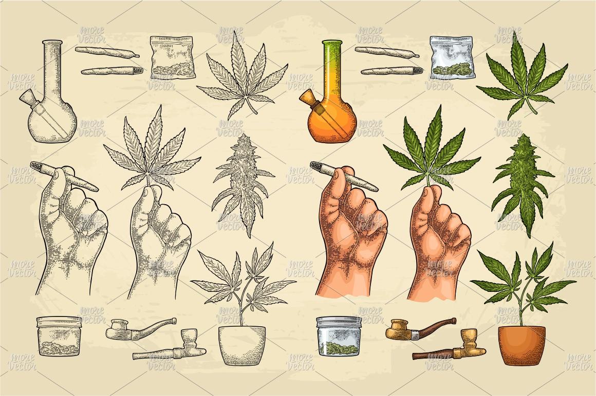 Marijuana Cigarette pipe bud hand leaf. Engraving example image 1