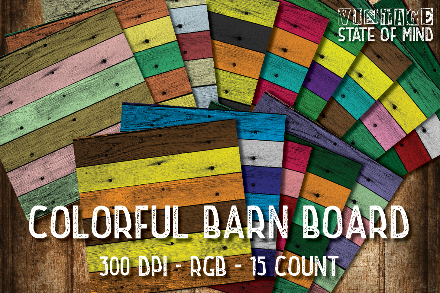 Colorful Barn Board Digital Papers example image 1