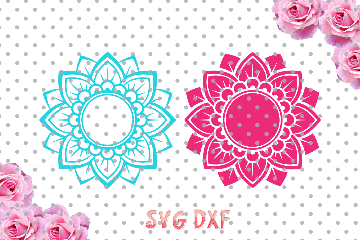 Download Flower Mandala Svg and DXF cutting file, flower Designs ...