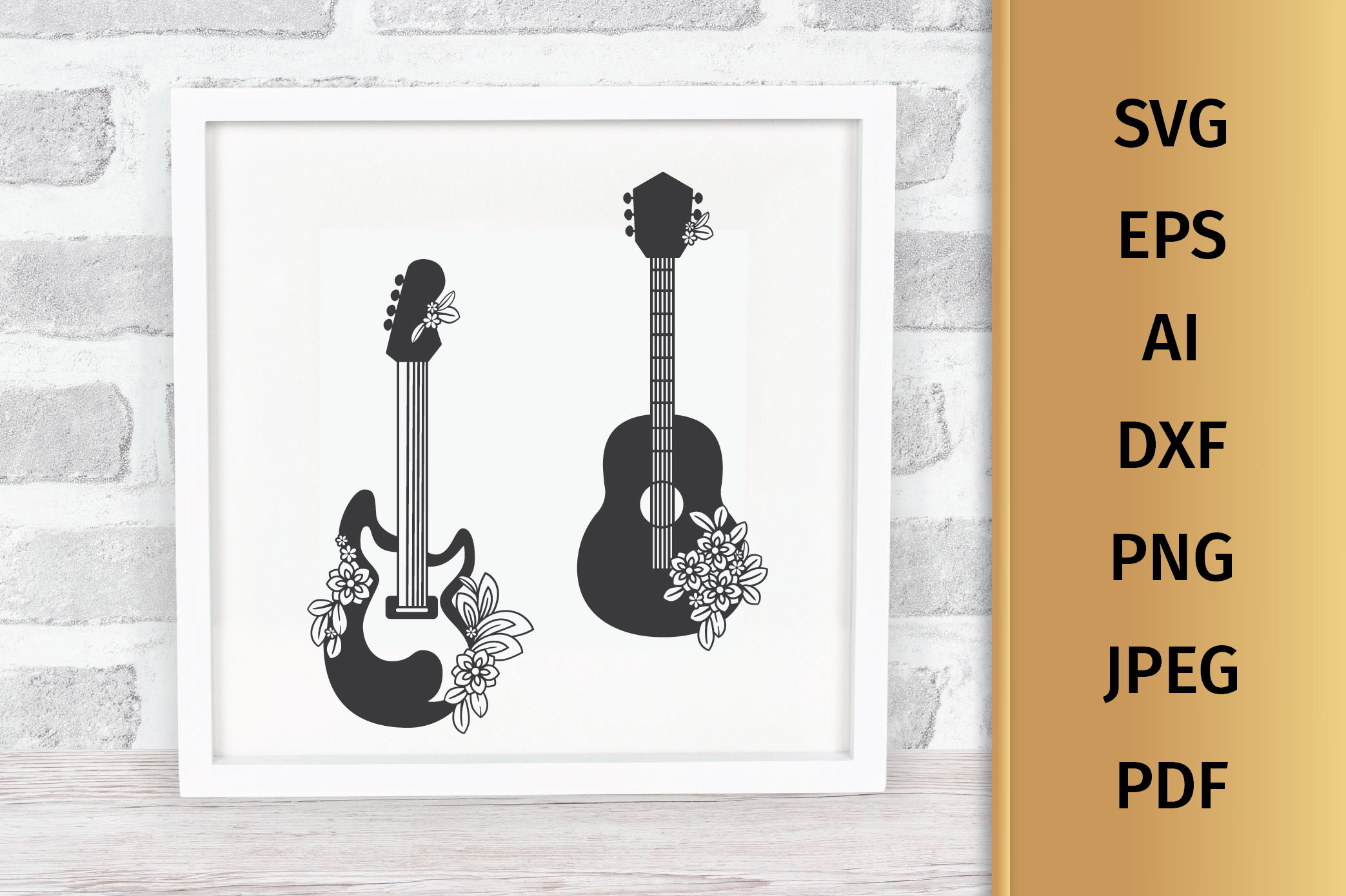 Floral Guitars SVG example image 3