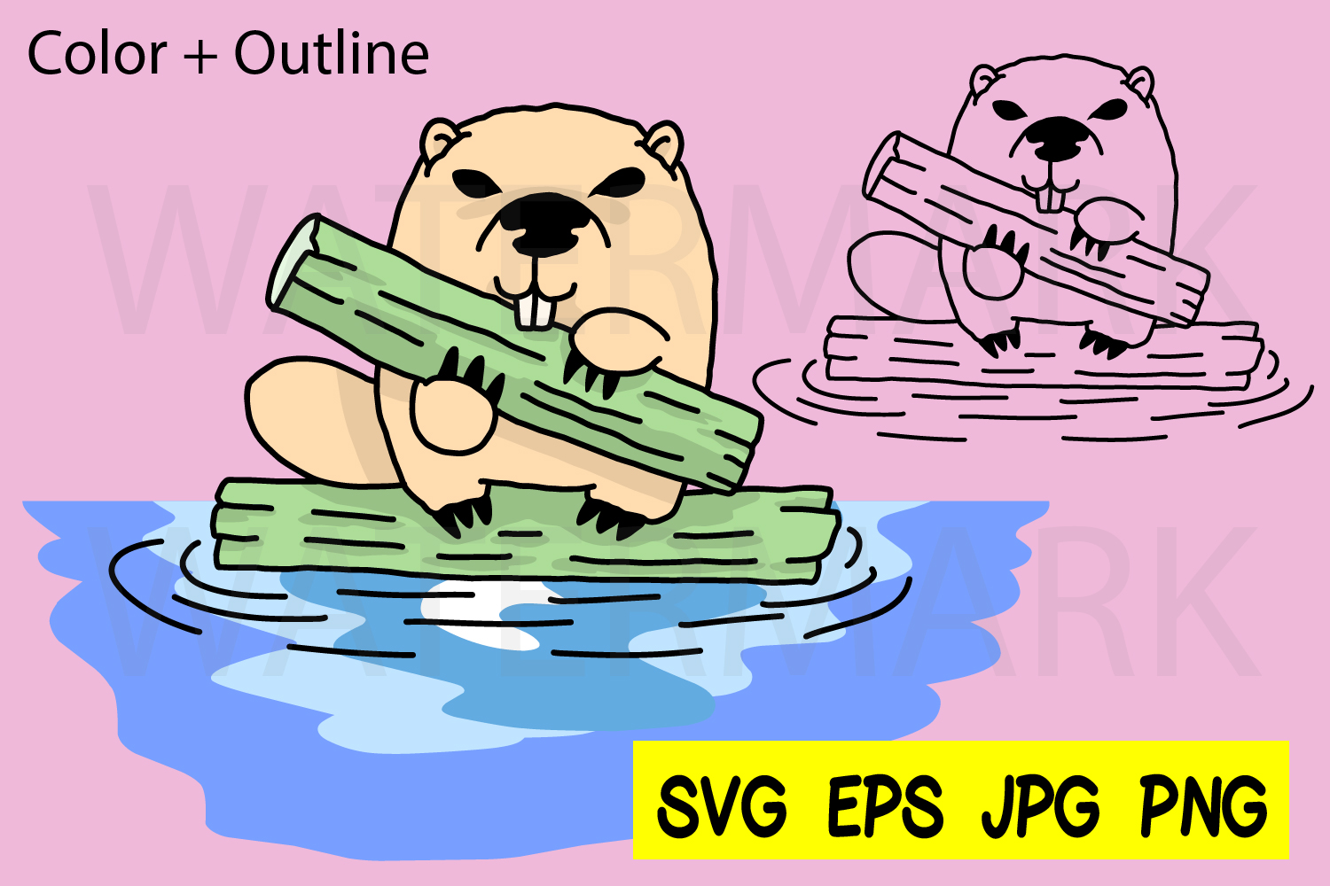 Beaver with a log- SVG-EPS-JPG-PNG example image 1