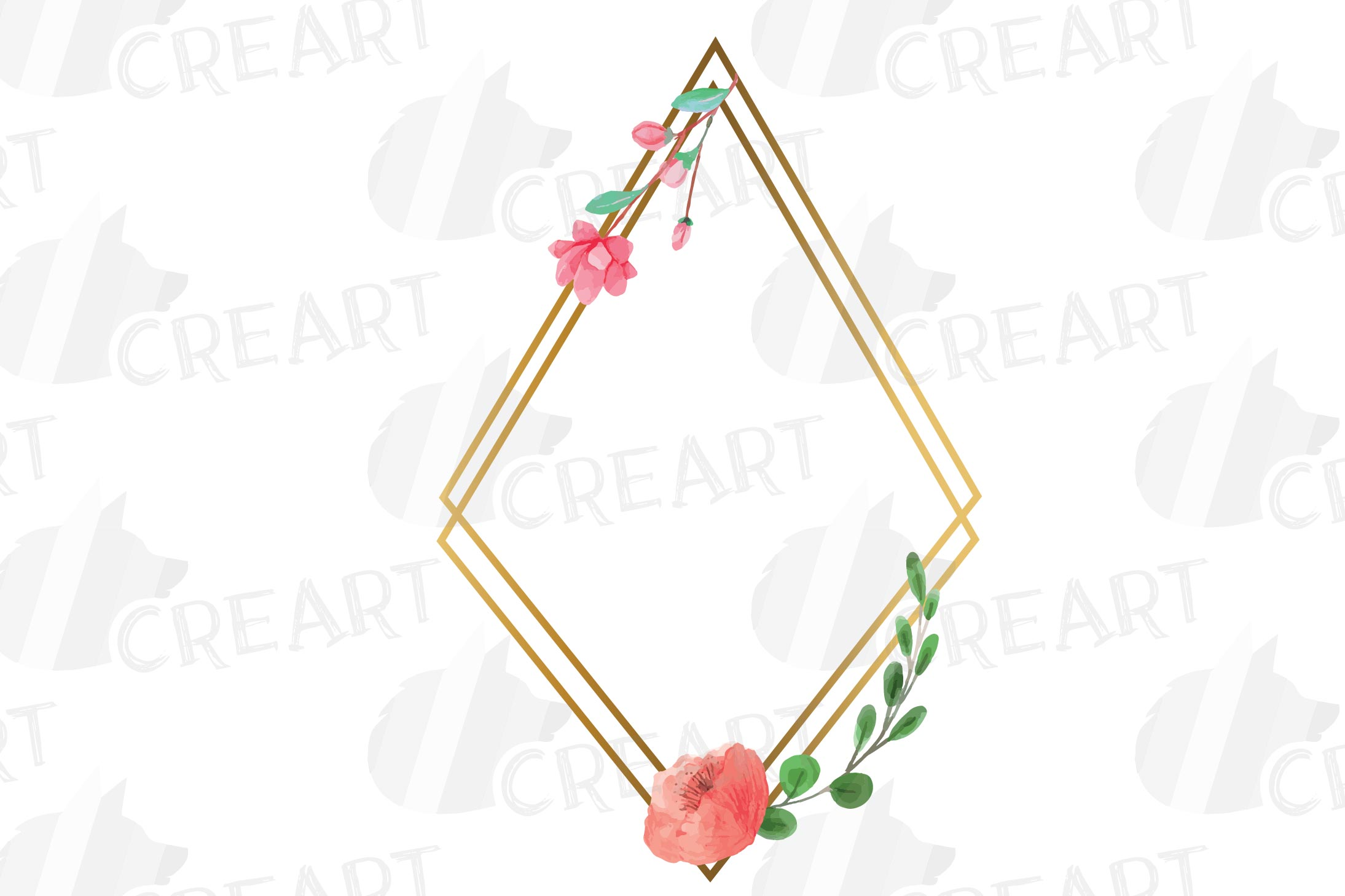 Golden Floral Frames Clip Art. Wedding geometric borders png example image 16
