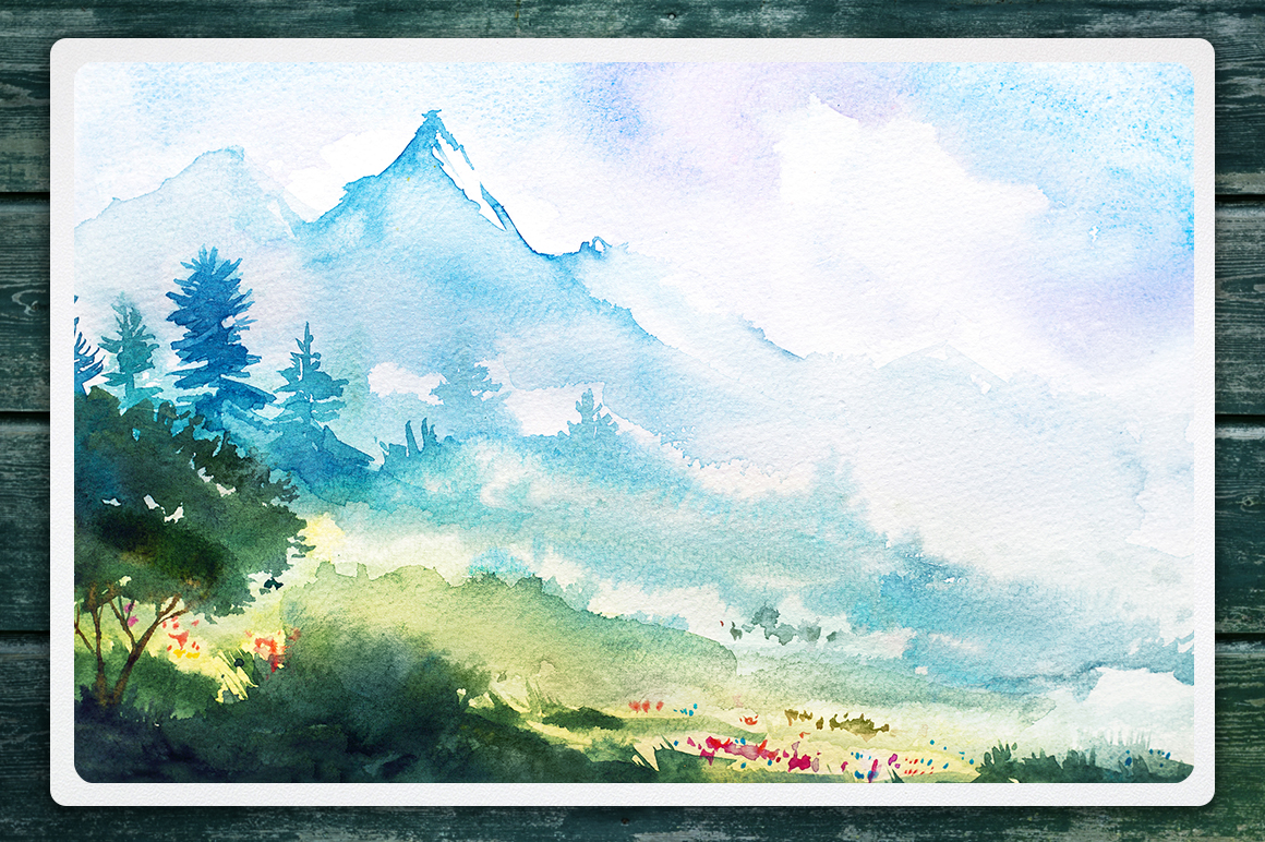 Watercolor Vector Landscapes set#2 example image 2