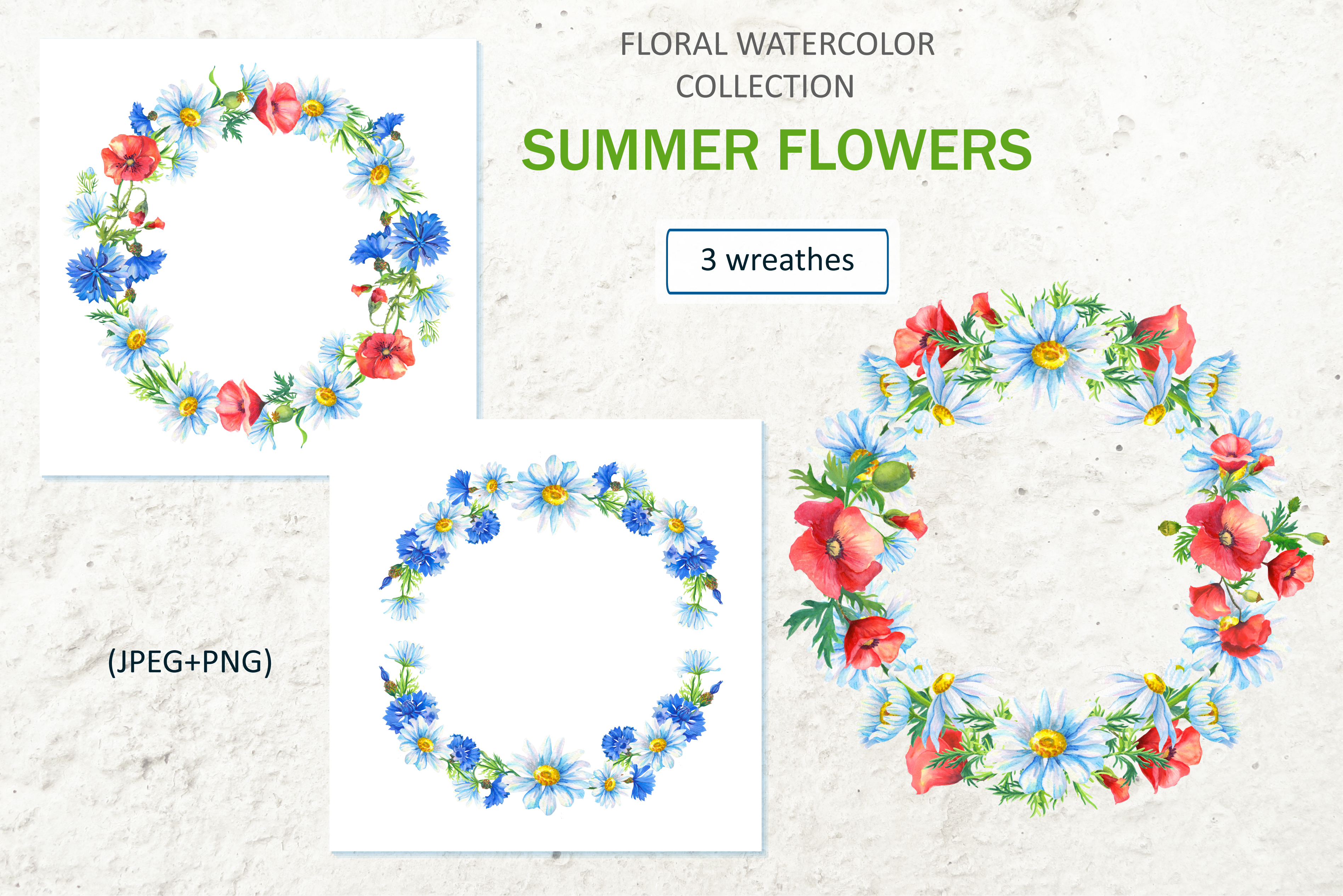 SUMMER FLOWERS.WATERCOLOR. example image 5