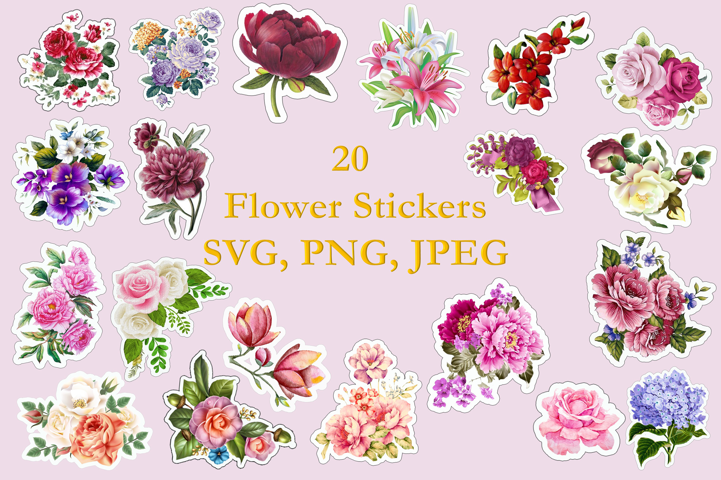 Flower Stickers SVG, PNG and JPEG Cricut, Silhouette. example image 1