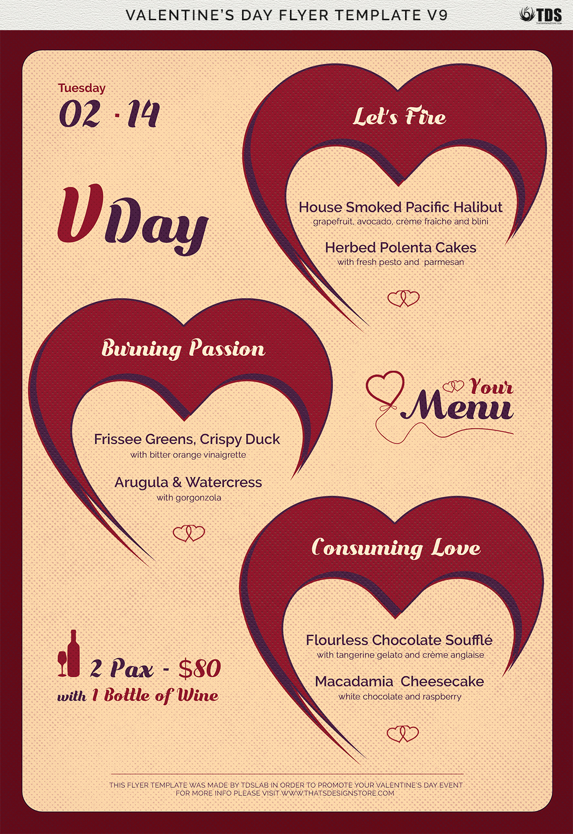 Valentines Day Menu Template V9 example image 9