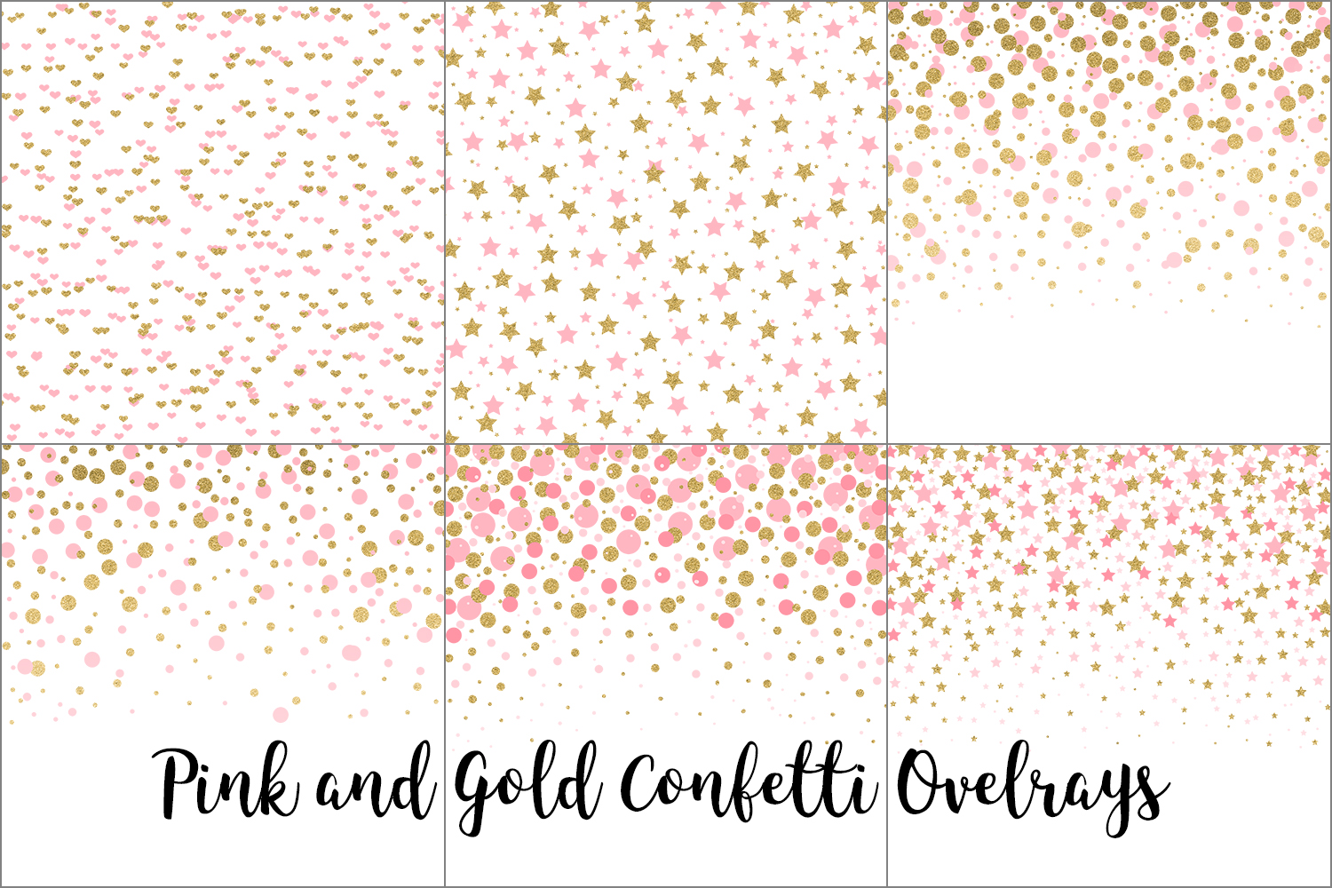 Pink and Gold Confetti Overlays, Transparent PNGs example image 5