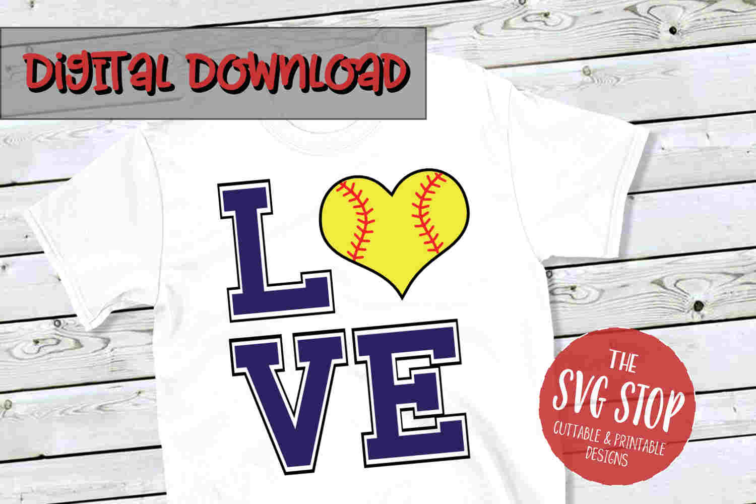 Love Softball 3-SVG, PNG, DXF example image 1