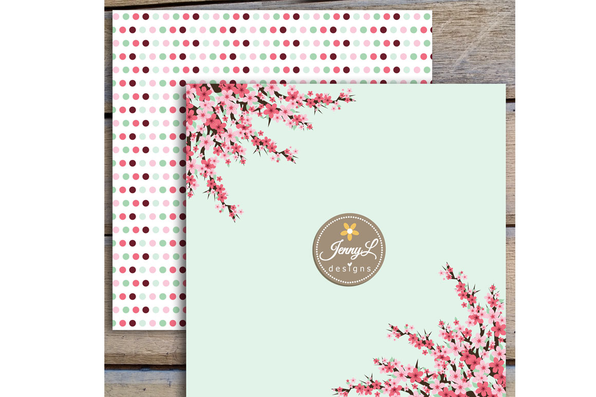 Cherry Blossoms Digital Papers and Sakura Clipart example image 8