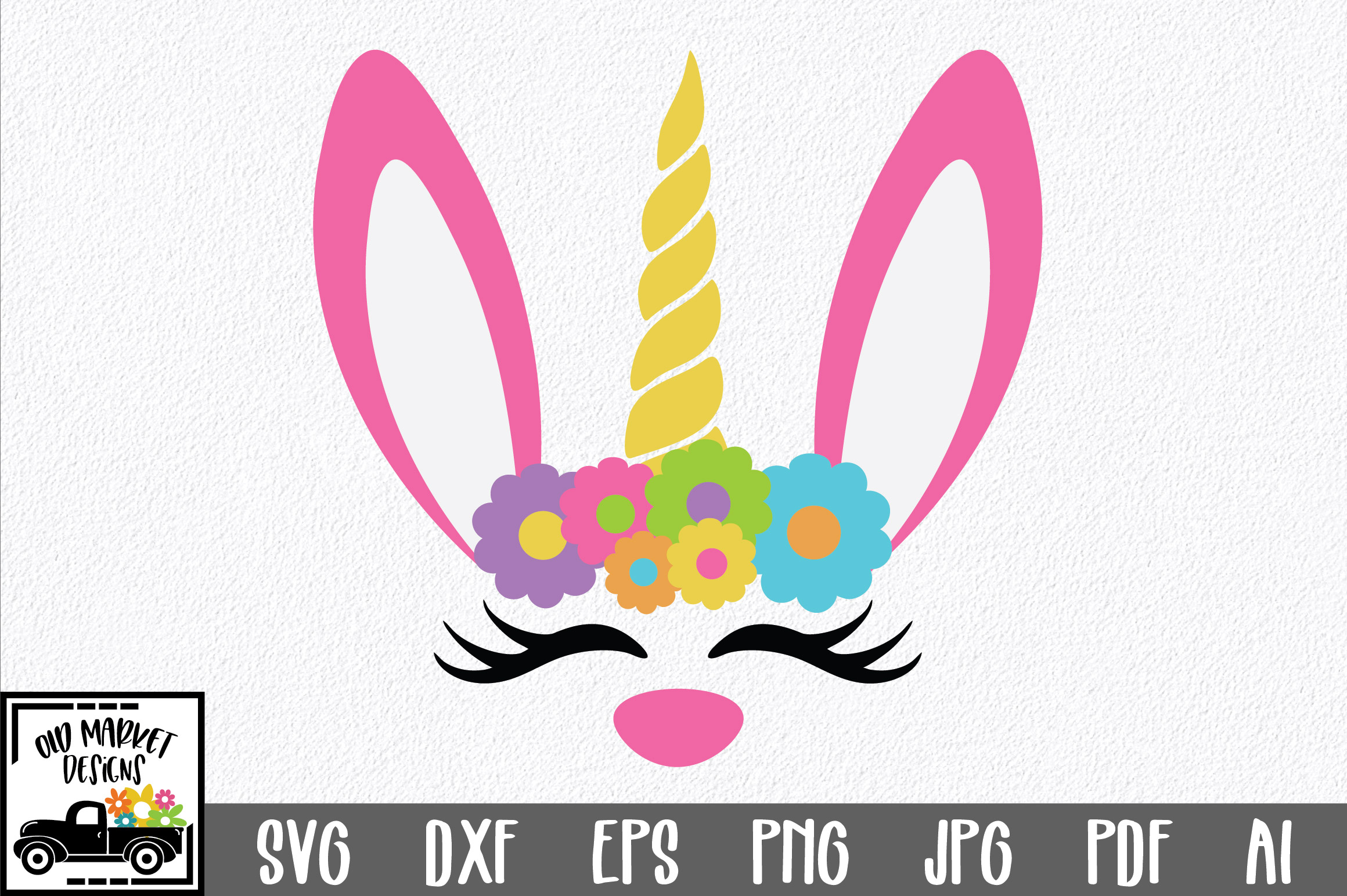 Easter SVG Cut File - Unicorn Bunny SVG DXF EPS PNG JPG AI example image 1