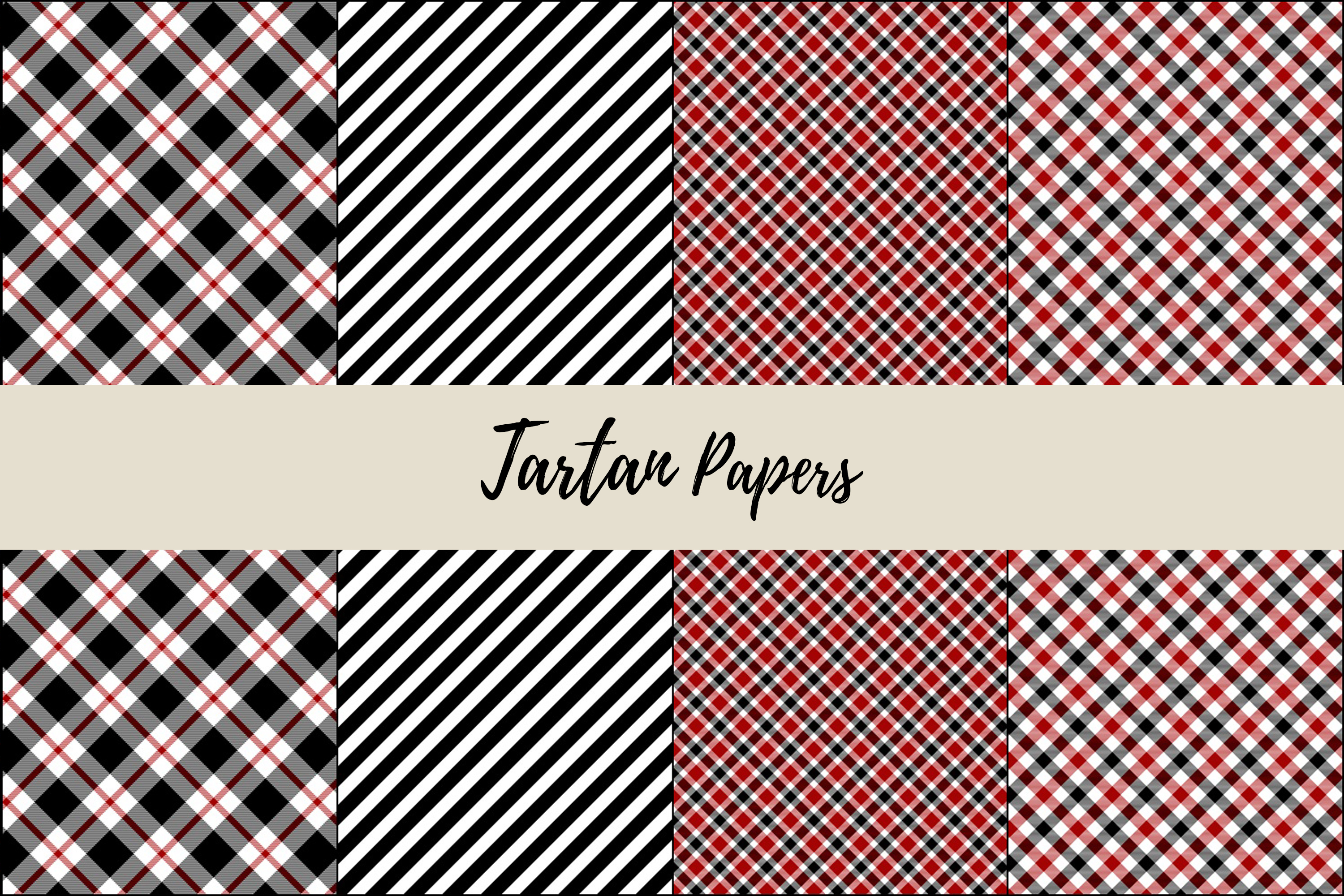 22 Black & Red Tartan Background Papers example image 6