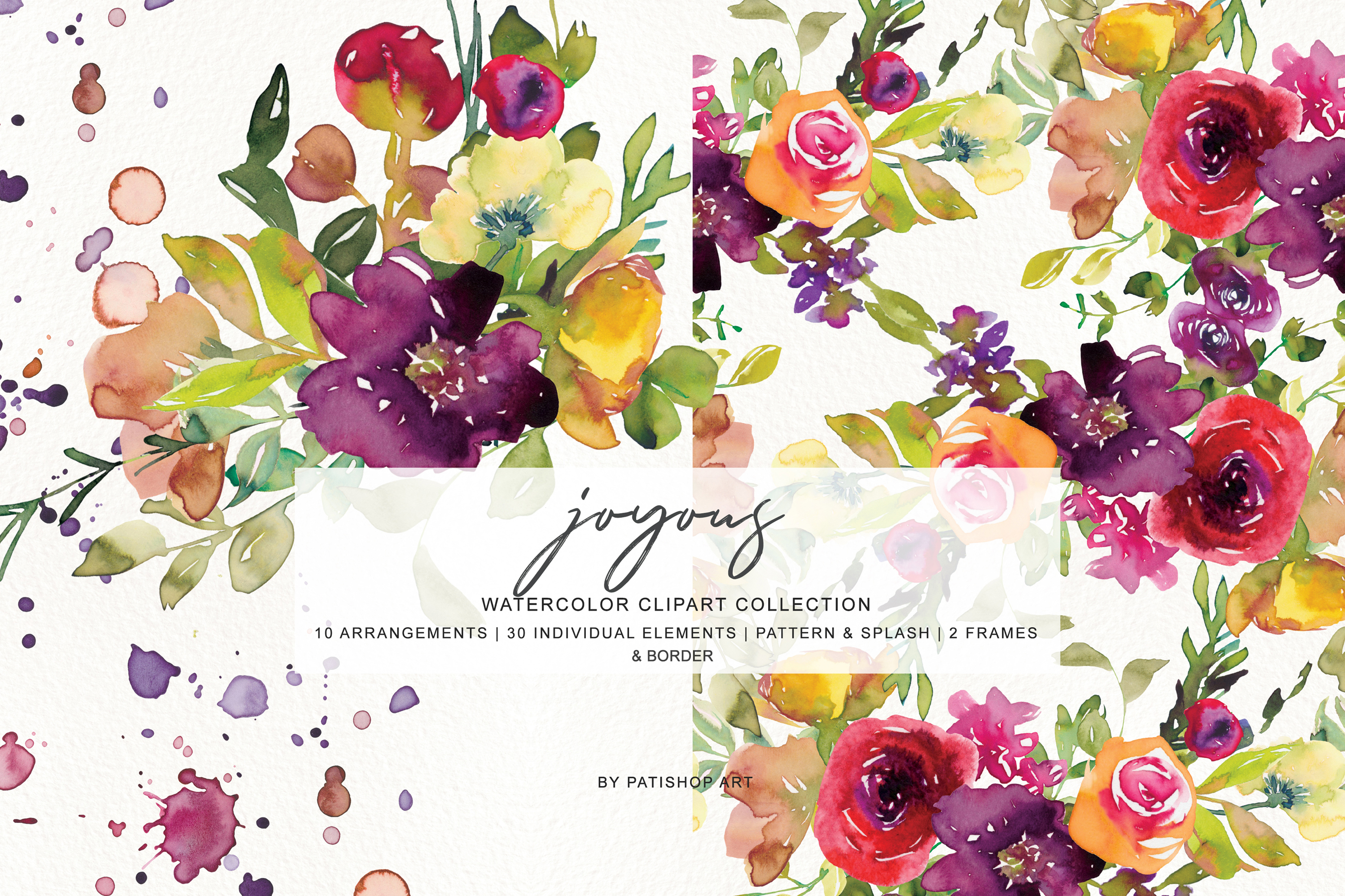 Watercolor Burgundy and Yellow Floral Bouquet Clipart example image 7