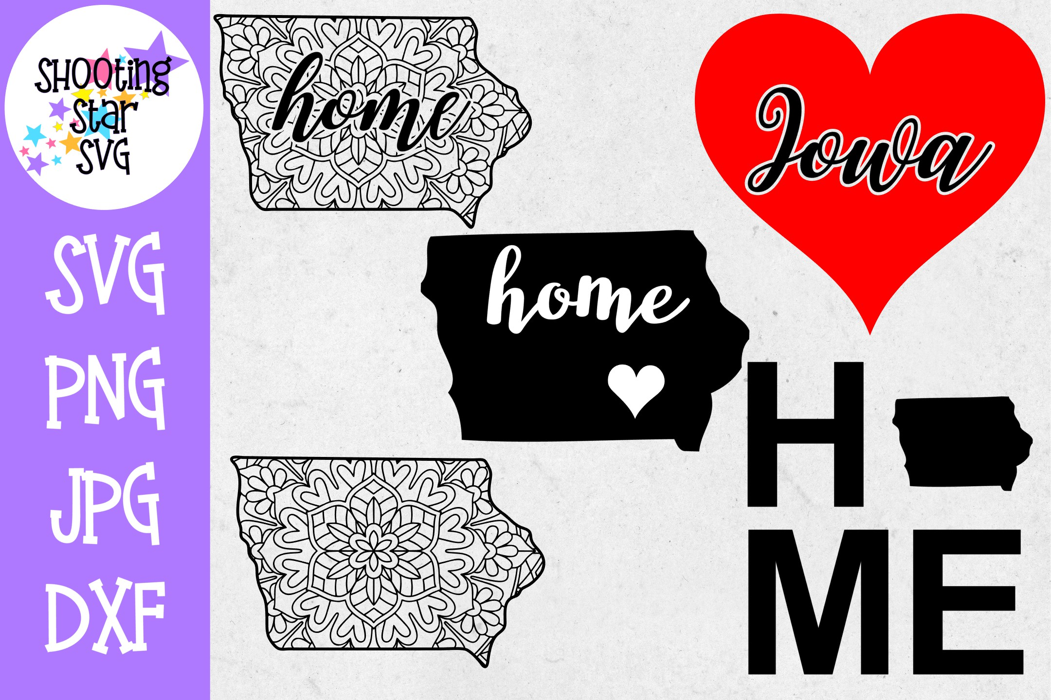Iowa US State SVG Decal Bundle - 50 States SVG example image 1
