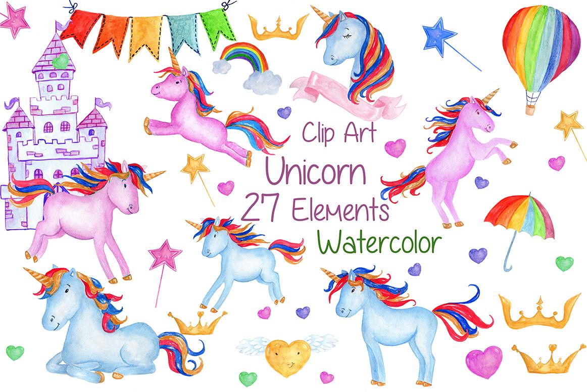 Watercolour Unicorns Clip Art example image 1