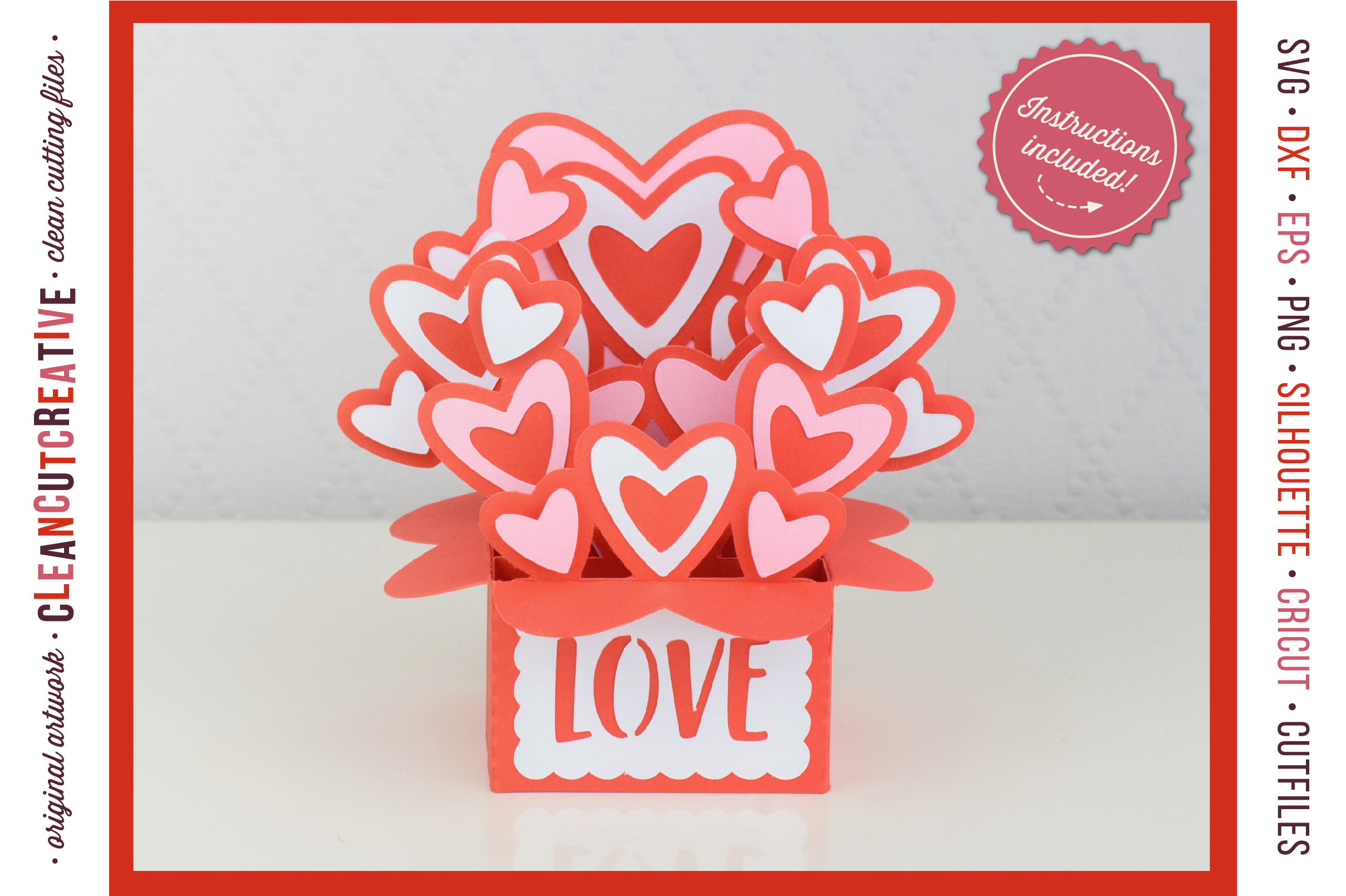 Love Box Card Valentine Card in a Box with cute hearts - SVG DXF EPS PNG - for Cricut & Silhouette - clean cutting files example image 1