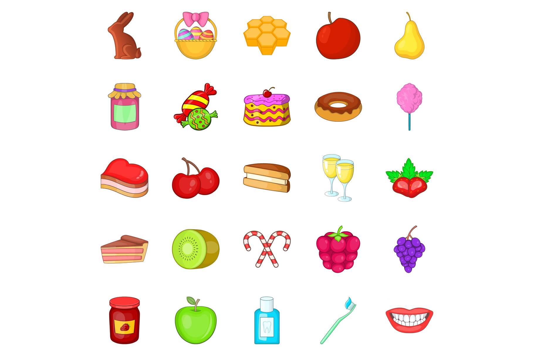 Dessert icons set, cartoon style example image 1