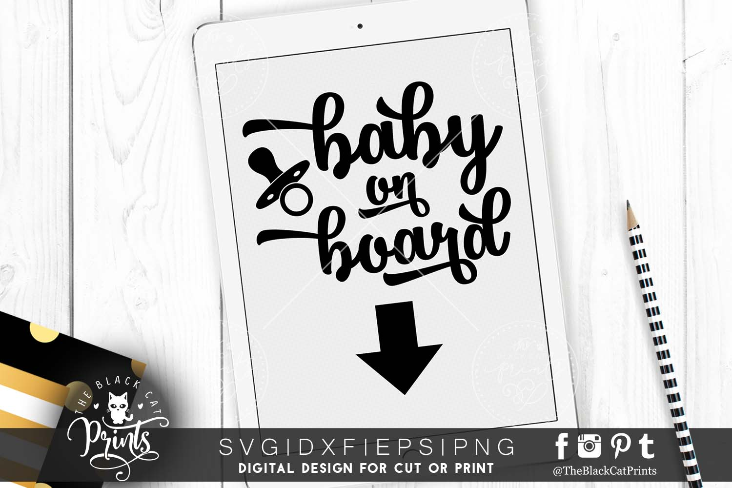 Baby on board SVG PNG EPS DXF example image 3