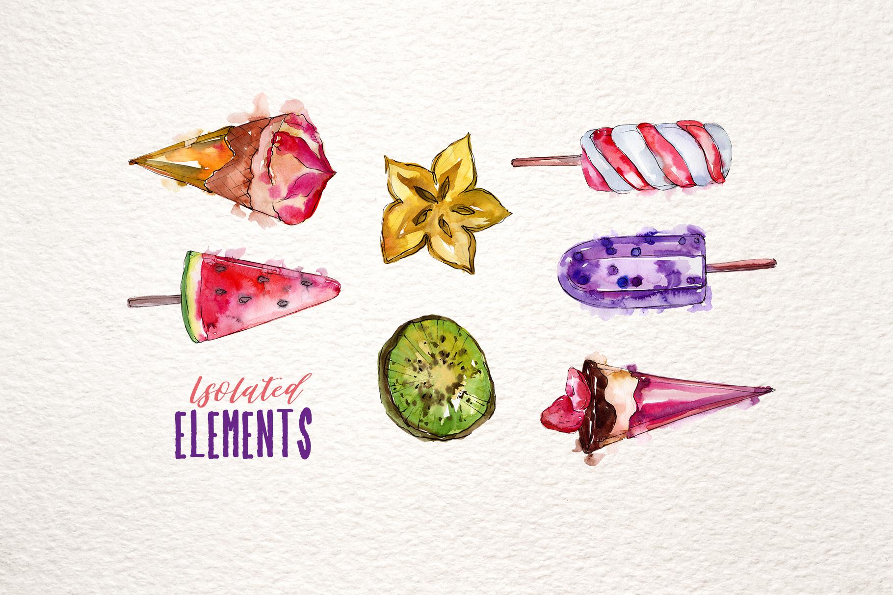 Ice-cream Pleasure Watercolor png example image 8
