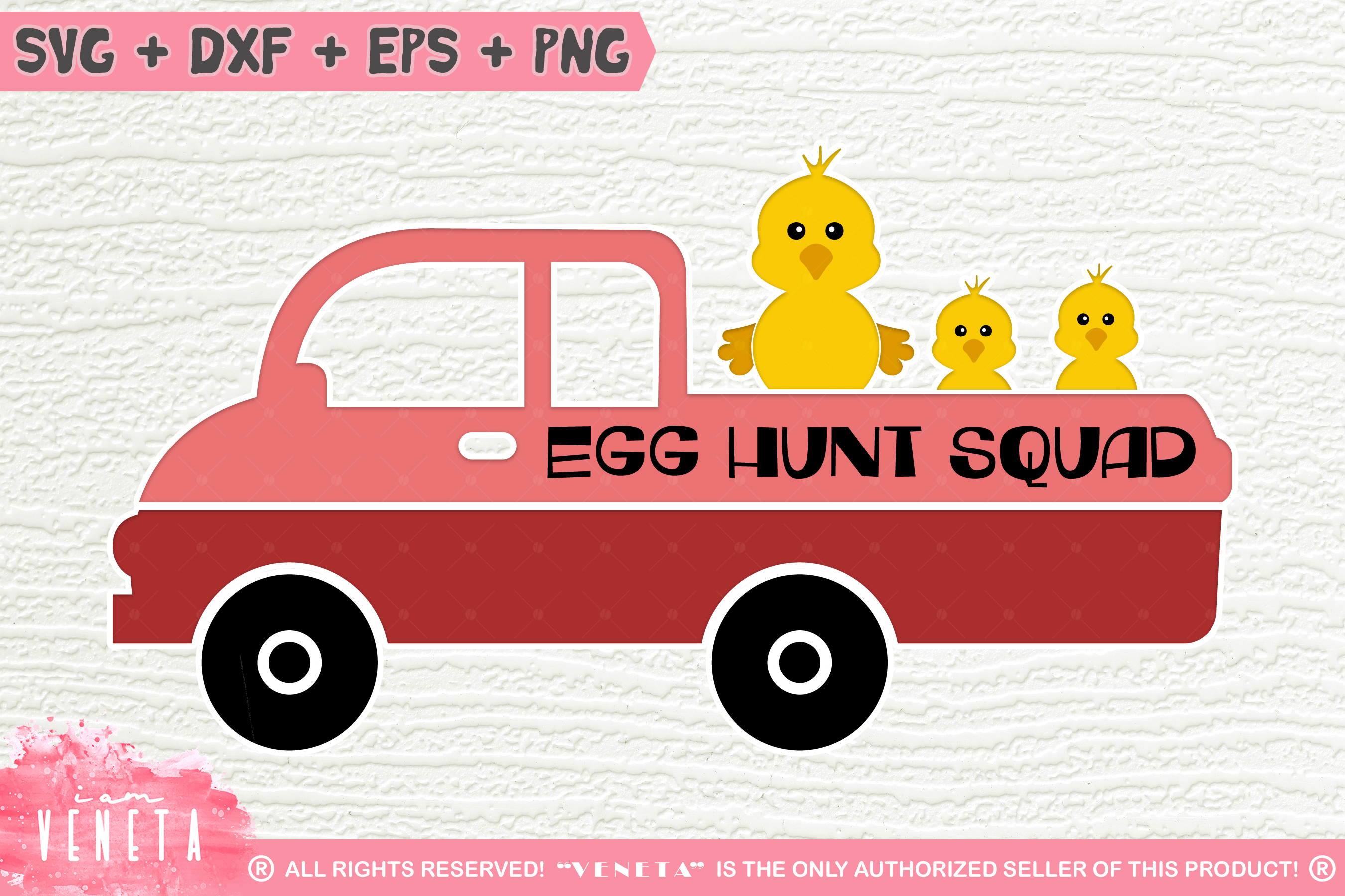 Egg Hunt Squad | Easter Truck| SVG, DXF, Cutting Files example image 1