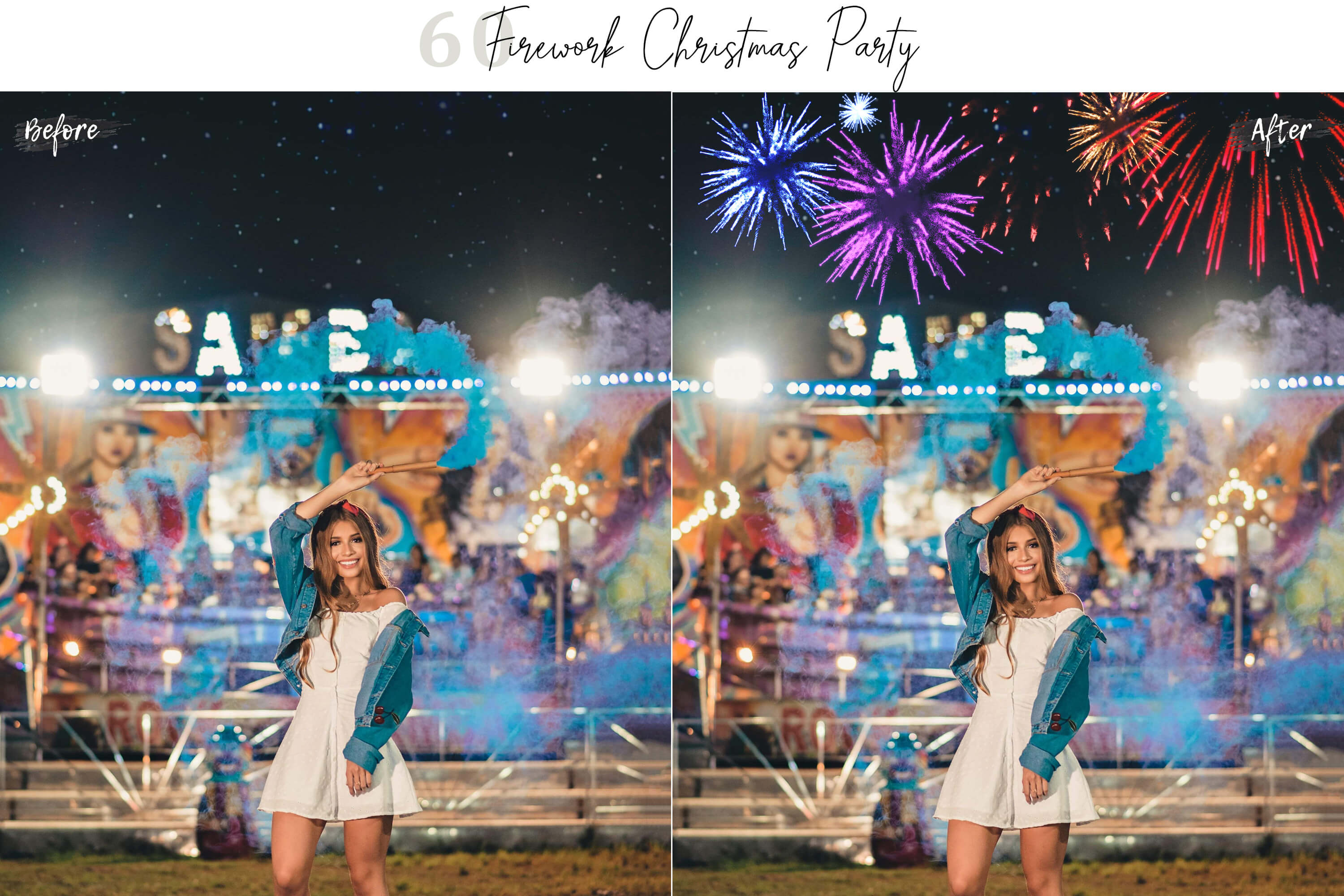 60 Firework Christmas Party Overlays example image 4