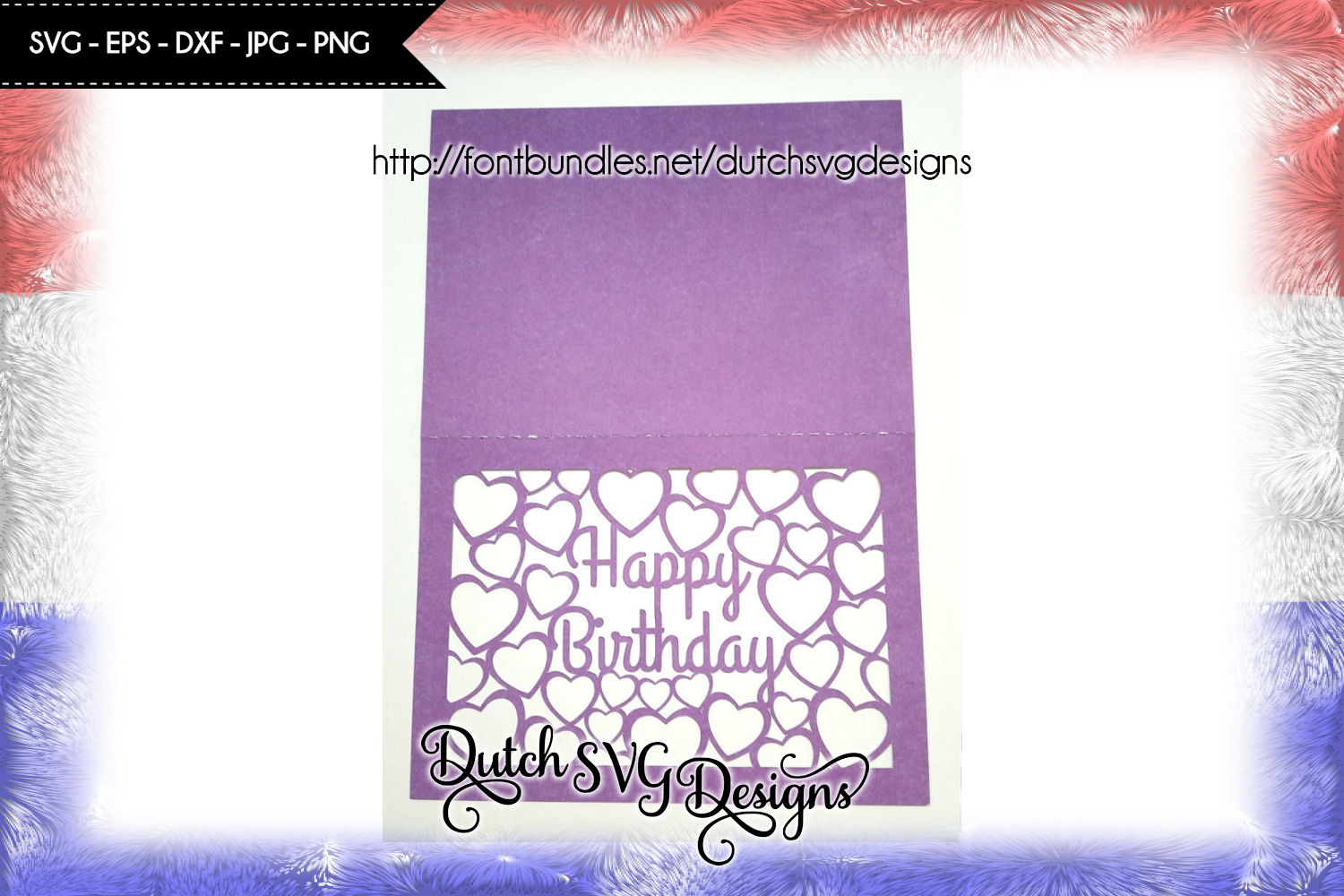 Card cutting file Happy Birthday with cutout hearts example image 2