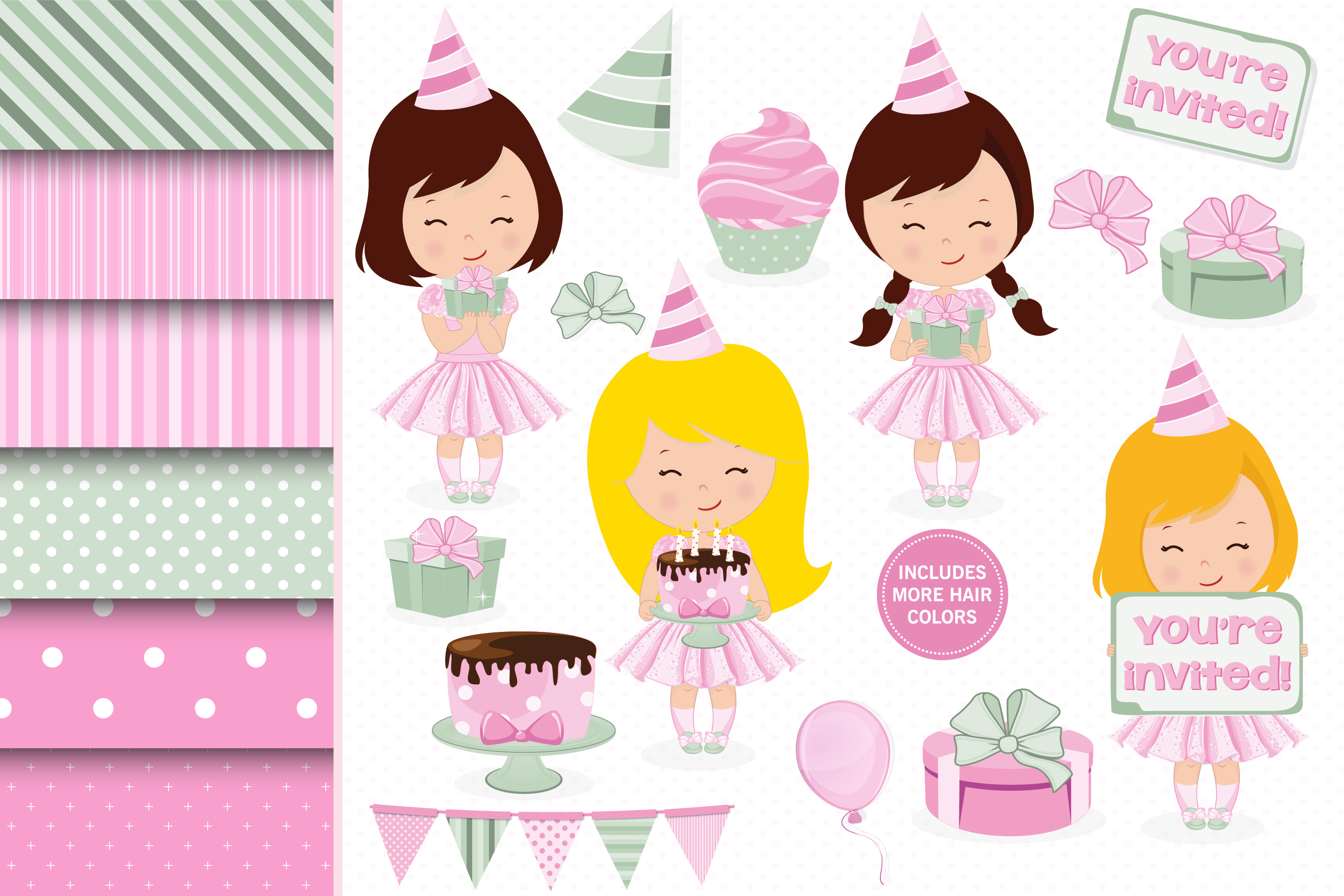 Birthday girl, Birthday digital papers example image 1