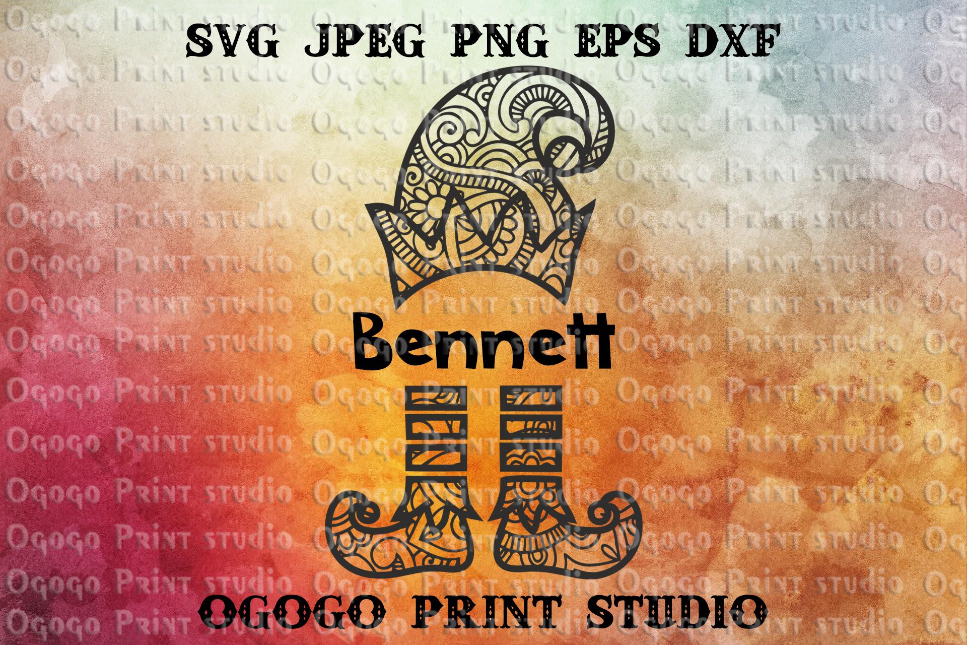 Elf svg, Christmas svg, hristmas SVG, Zentangle SVG, Mandala example image 1
