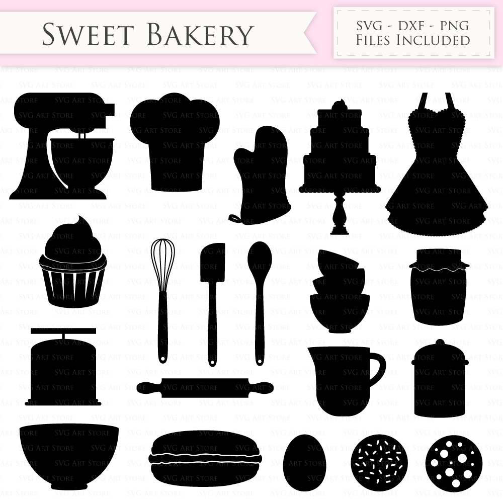 Baking SVG Bakery svg cutting files Cricut and Silhouette SVG dxf png jpg included. Cooking svg cutting files, Vintage Bakery cut files example image 2