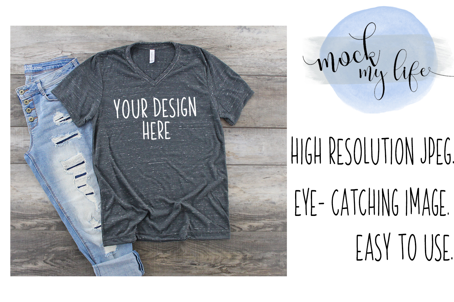 Bella Canvas Mockup / Plain Shirt Mock up / Charcoal Marble example image 1